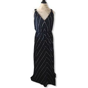 Navy Blue Maxi Dress with White and Tan Pattern